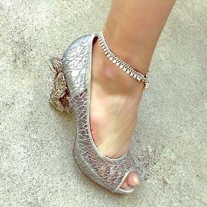 Dubai Cinderella Round Disco Charm Hook Eye Anklet